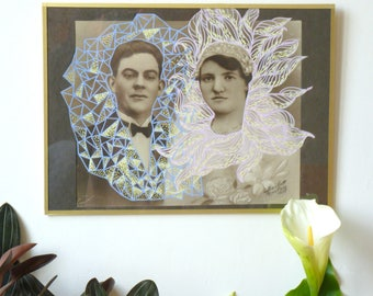 """Portrait photo upgraded, serie """"Therese and her friends"""" n7, couples, married, marriage, black and white, old school, orchid, upcycling"""