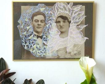 """Portrait photo revalorisé, col """"Thérèse et ses amis"""" n7, couple, mariés, mariage, noir et blanc, pastel, old school, recyclage, original"""
