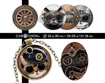 Steampunk  60 Images Digitales RONDES 25 et 20 mm OVALES 18x25 13x18 mm chat chapeau lunettes aviateur metal Page cabochons cabochon bijoux