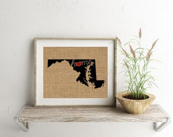 "Maryland (MD) ""Love"" or ""Home"" Burlap or Canvas Paper State Silhouette Wall Art Print / Home Decor (Free Shipping)"
