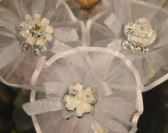 Almond favors w/t assorted embellishments, koufeta, mementos, Bomboniere, Wedding favors, Baptism, First Communion,Organza circle satin edge