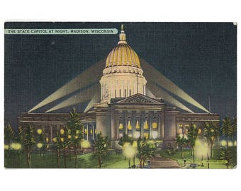 Madison Wisconsin vintage linen postcard | Wisconsin state capitol | 1940s WI travel decor, vacation souvenir | home state postcard