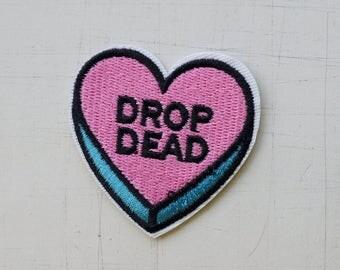 5.1 x 5.1 cm, Drop Dead Heart Sharp Iron On Patch