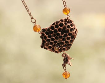 Wasp honeycomb and amber necklace, electroformed comb, beekeeper gift, electroforming, nature inspired jewelry, bee lover pendant