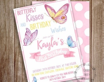 Butterfly Invitation, 1st Birthday, Butterfly Birthday Invitation, Butterfly Party, Printable Party Invite, Instant download, Editable