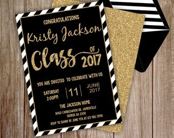 Graduation Invitation - Black and Gold Graduation Invitation - Gold Graduation Invitation - Instant Download Edit with Adobe Reader, WAHOO1