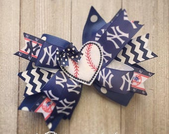 New York Yankees Hair Bow or Bow & Headband Set with Baseball Heart Feltie Center
