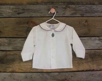 vintage Paul Scott button down toddler shirt | size 12 months | Peter Pan collar with red and green piping detail | Christmas