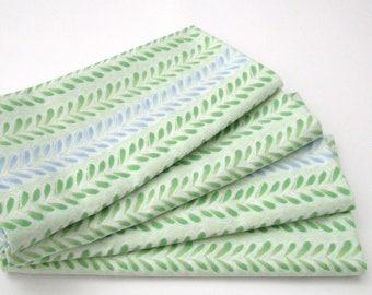 Large Cloth Napkins - Set of 4 - Green Blue Leaf Stripe - Dinner, Table, Everyday, Wedding
