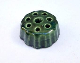 Green Flower Frog, Vintage Vase Arranger, Floral Pottery Frog,    Gardener Collectible