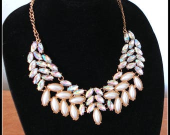 RUNWAY BIB NECKLACE Marquise Crystal A B Rhinestones Faux Pearls Gold Tone