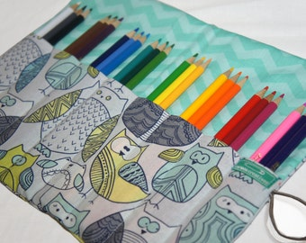 Owl Gift, Owl Pencil Case, Roll Up Pencil Case