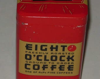 Eight O'Clock Coffee Tin Bank Red Tan 4 Inch Vintage Collectible Advertising