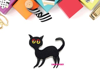 Black Cat - Ghost Cat - Ghost Animal New Sew on / Iron On Patch Embroidered Applique Size 7.4cm.x7cm.