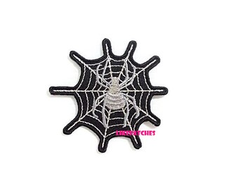 Spider Iron On Patch Silver Web Patches Black Patch Sew / Iron On Patches Embroidered Patch Iron On Appliques Cute Patches 6.8cm.x6.6cm.