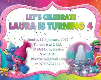 10 x Trolls Personalised Children Birthday Party Invitations or Thank you Cards