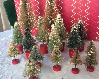 Collection of wire brish Christmas trees 1950