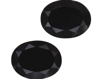 Black Tourmaline Oval Cut Set of 2 Loose Gemstones 1A Quality 8x6mm TGW 2.00 cts.