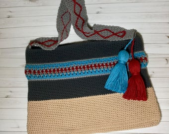 Boho Crochet Cotton Beach Bag, Large Tote Bag, Bohemian Style Beach Bag
