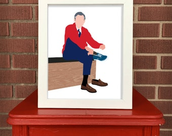 "Fred ""Mister"" Rogers 8""x10"" print wearing keds Neighborhood Mr. Rogers"