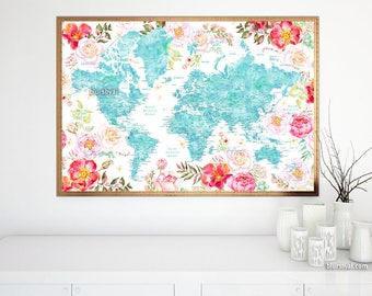 36x24 printable world map dark navy blue wall art navy world map printable floral world map poster world map flowers watercolor world map gumiabroncs Choice Image
