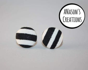 Black & White Fabric Covered Button Stud Earrings - Hypo-Allergenic Surgical Steel