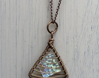 Dichroic Glass Triangle Wire Cage Pendant