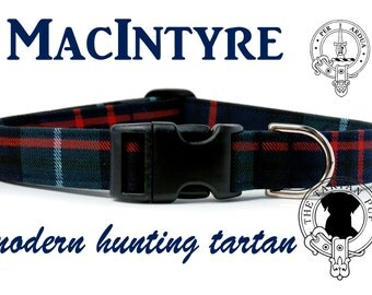 MacIntyre Tartan Dog Collar, Scottish Tartan Dog Collar, Clan MacIntyre