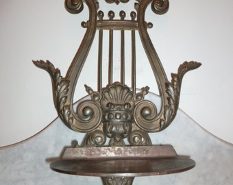 Antique Victorian wall bronze lyre stand for statue sculpture plants circa 1880