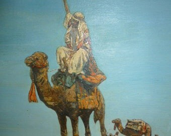Art Deco period polychrome European Orientalist oil on panel signed LATEBBON 1930