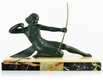 French Art Deco Period spelter sculpture DIANE THE HUNTRESS circa 1930