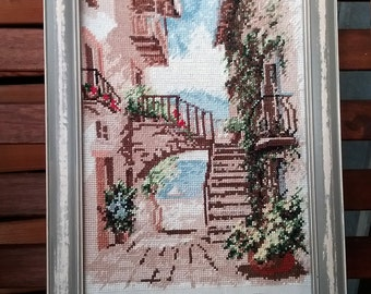 """Beautiful cross stitch picture with wooden frame """"Summer in Italy"""" 21 x 30 cm"""