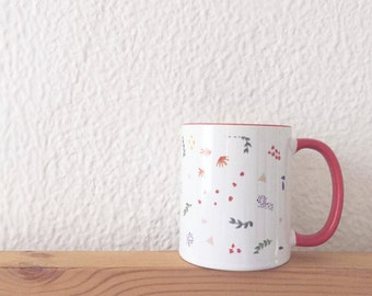 Red Lined Colorful Patterned Mug