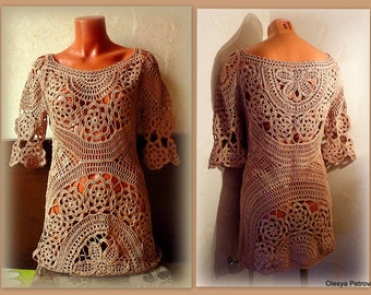 Boho Crochet Tunic Beach Crochet dress Bohemian cotton Clothing Festival Beige Mini Lace Dress Short Sleeve Floral Romantic Crochet Top