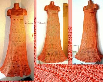 Orange Gypsy Dress Maxi Crochet Lace Gown Summer Boho Long Dress Tunic Empire Waist dress Festival Beach Wedding Gown pineapple Cotton Dress