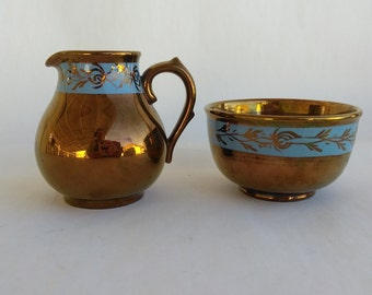 England Copper Lusterware Creamer Sugar Set,  Creamer Pitcher, Open Sugar Bowl, Turquoise Band Signed Gibson England