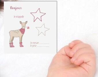 20 faire parts bébé faon rose- Pour bébé- Naissance- Annoncer l'arrivée de bébé- Faon beige- Faire part carré- Rose - Biche- Bambi- Fôret