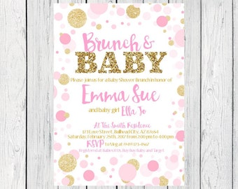 Brunch & Baby- Baby Shower Invitation- pink and  gold glitter***Digital File***  (Baby-BrunchPolkapnk)