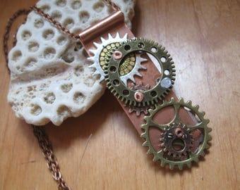 Steampunk necklace, steampunk pendant, steam punk necklace, womens steampunk pendant, steampunk jewelry, industrial necklace,
