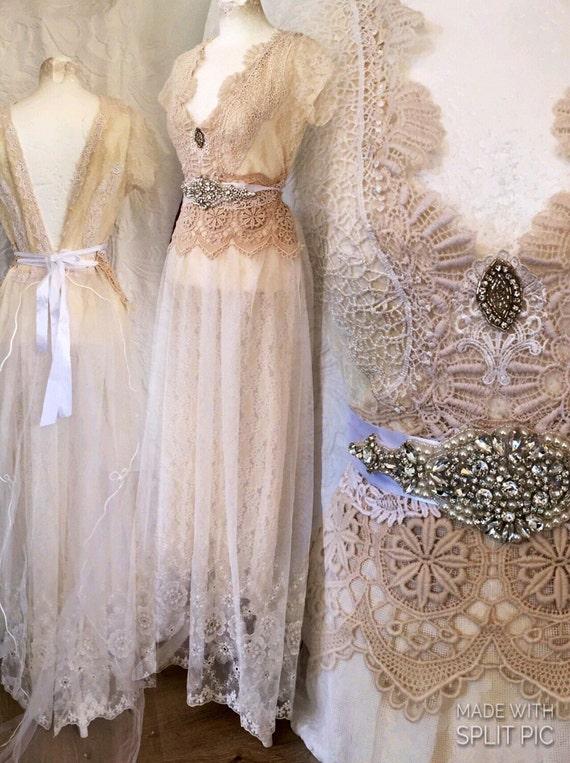 Vintage inspired wedding dress victorian cream and white for Victorian inspired wedding dress
