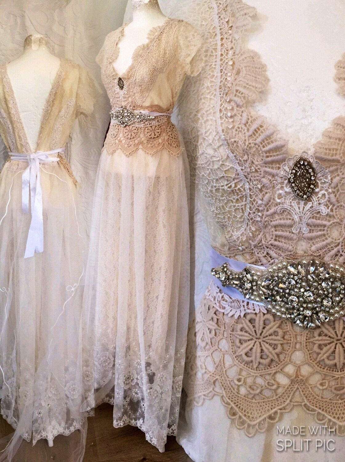 Vintage inspired wedding dress victorian cream and white for Antique inspired wedding dresses