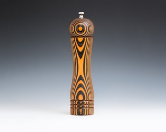 """Colorful, Handmade 10"""" Peppermill - Laminated , orange and black"""