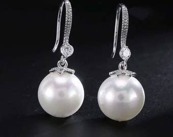 Bridal Pearl Earrings Wedding Jewelry Light Ivory Pearls Cubic Zirconia Simple Dangle Classic Earrings Bridesmaid Gift wedding pearl jewelry