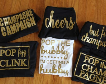Bridal party racerback tanks! Cheers-pop fizz clink-pop the champaign-but first champgain-pop the bubbly//kate spade inspired