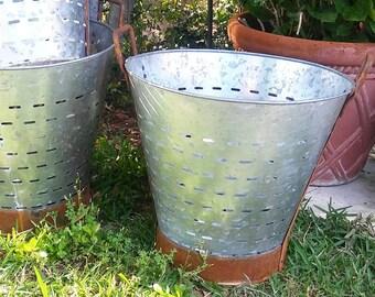 Olive metal baskets