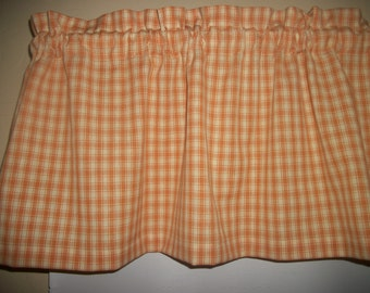 Mustard Yellow Plaid Homespun Checks Checked fabric Country Kitchen curtain topper Valance