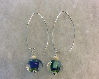 Blue and green mix lampwork sterling silver earrings.