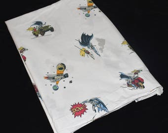 Pottery Barn Kids Full Double Flat Sheet Batman & Robin 100% Combed Cotton Bed Sheet or Craft Fabric