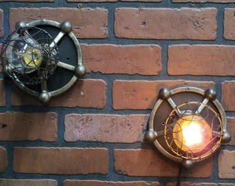 Vintage Industrial Wall Sconces Pair Old Cast Iron Gears with Trouble Cages