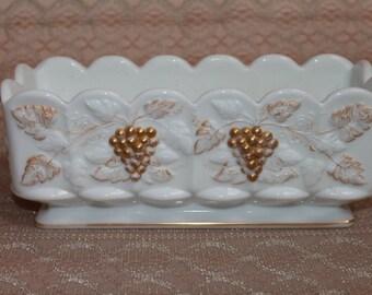 Rectangular Paneled Grape Planter Vintage Westmoreland Milk Glass Wedding decor